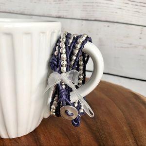 Jewelry - Four strand Boho leather silver bead bracelet